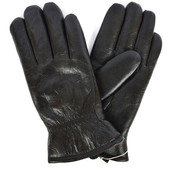 Мужские кожаные зимние перчатки на сером шерстяном меху