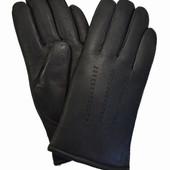 Мужские кожаные зимние перчатки на коричневом шерстяном меху