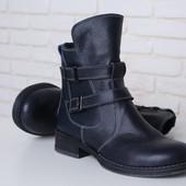 Кожаные синие демисезонные ботинки