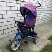Велосипед коляска с родительской ручкой