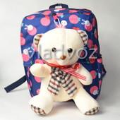 Детский рюкзак с мягкой игрушкой мишка фиолетовый 3682