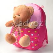 Детский рюкзак с мягкой игрушкой мишка нежно розовый 3668