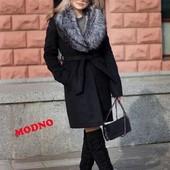 5П1108 Женское зимнее пальто с огромным экомеховым воротником(42-46 р)