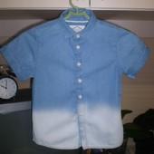 джинсовая рубашка тениска Matalan  7 лет  100% котон