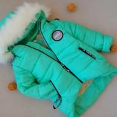 Р 116-140 см Модная асиметрия. Зимняя куртка на овчине. Очень Теплая.