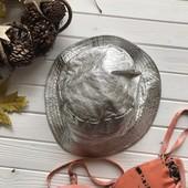 Шикарная шляпа панама серебро из натуральной кожи