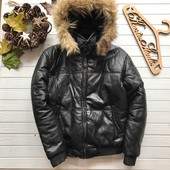 Зимняя мужская кожаная куртка бомбер с натуральным мехом рр Хс-С