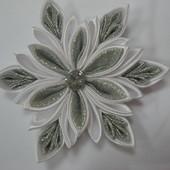 Снежинка №9 серебро на заколке