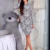 Теплое платье ангора ангоровое с принтом Цвета