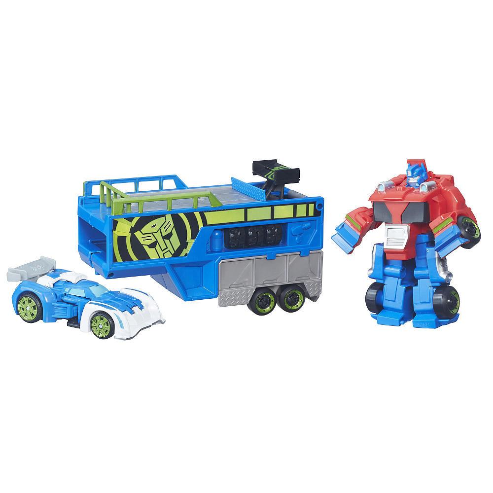 Transformers трансформеры спасатели гоночный комплект rescue bots optimus prime racing trailer фото №1