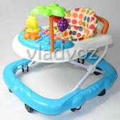 Детские ходунки музыкальная панель тормоз Bamby с пальмой звук синие