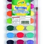 Смываемые Акварельные краски Crayola из США. 24 цвета