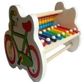 Деревянные Счеты-ксилофон «Велосипед», музыкальная