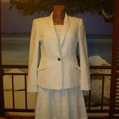 Льняной пиджак ткань в елочку р.12 H&M