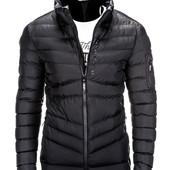 Тёмная мужская зимняя стеганая куртка без капюшона