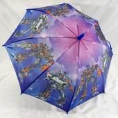Крутой детский зонт для мальчика Машины мотоциклы Трансформеры 5-9 лет