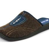 100-AC-4-043 , Тапочки мужские домашние Inblu Инблу, коричневый, материал - фетр, размеры 40-46