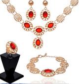 Позолоченный комплект ожерелье, серьги, браслет и кольцо код 725