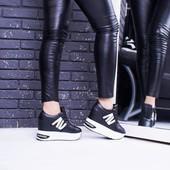 Сникерсы кроссовки женские на высокой подошве, черные