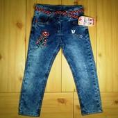 Детские джинсы для девочки рр. 98-122 Цветы Beebaby (Бибеби)