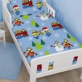 Постельное белье комплект новогодний 120х150 Миньоны для мальчика