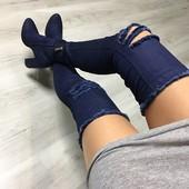 Ботфорты джинсовые