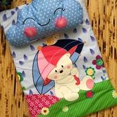 Стильный флисовый гладенький набор подушка+матрасик