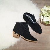 37р. 24см  Next  Замша  Актуальные базовые ботинки на низком каблуке с декоративной бахромой