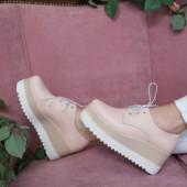 Туфельки натуральные на шнуровке и высокой подошве L128176,36-41,33