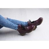 Бордовые кожаные деми ботинки