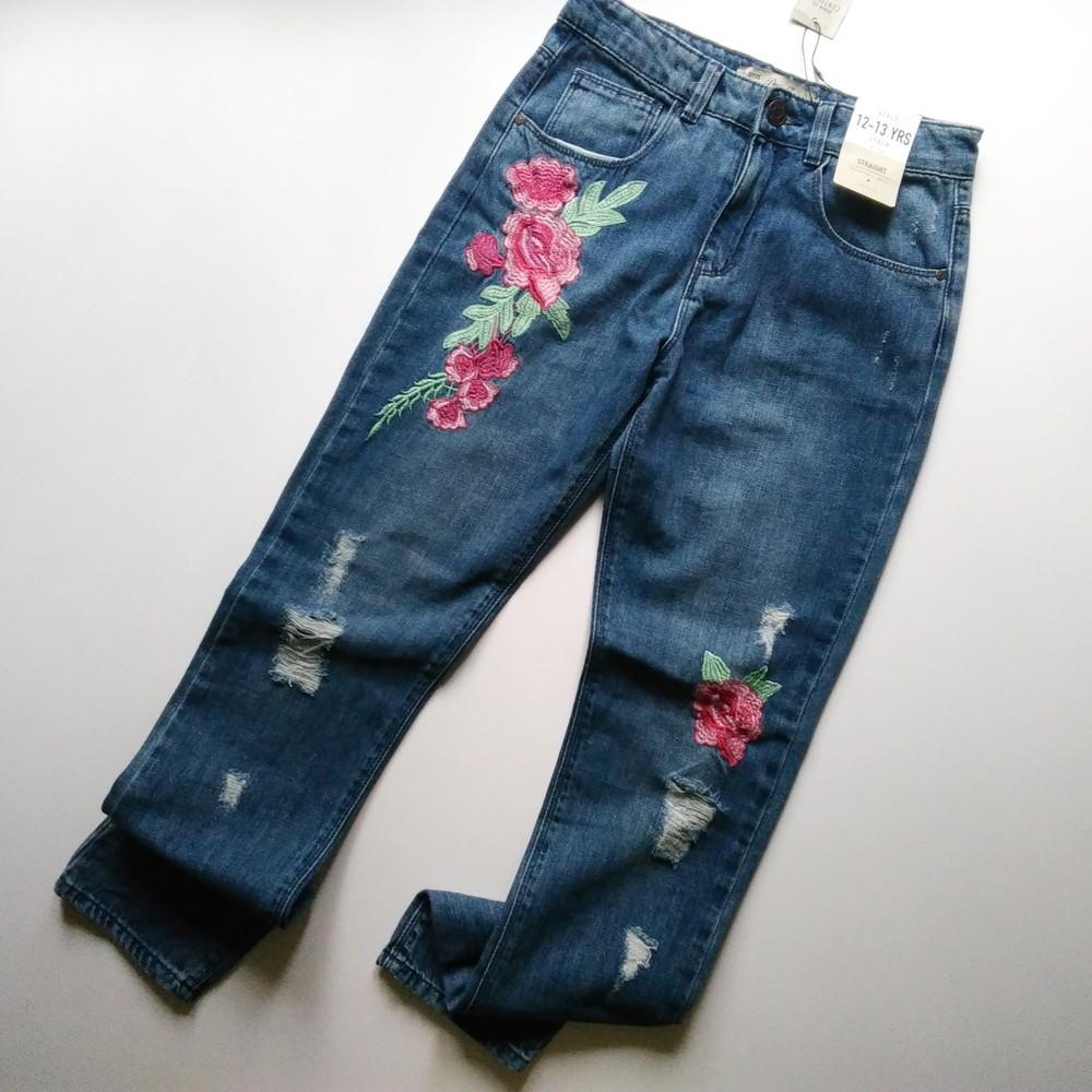 Распродажа! 4̶1̶5̶ 310 грн джинсы primark потертые с вышивкой летние фото №1