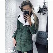 Куртка с меховым воротником в расцветках 23699
