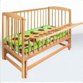 Кровать детская на шарнирах с откидной боковиной на подшипнике (1200*600) (бук)1790006