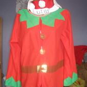 """Новорічний кофта з шапочкою """"Помічник Санти-Ельф"""",розмір XL"""