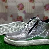 Ботинки женские кожаные Polin 23 серебро