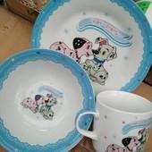 """Детский набор посуды из керамики """"Далматинцы"""""""