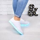кроссовки кеды белые LED подсветка