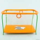 """Манеж игровой Kinderbox Люкс с крупной сеткой """"Слоник"""" (оранжевый)"""