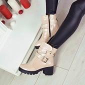 Ботинки пудра Натуральная кожа, кожаные ботинки на каблучке, кожаные весенние ботинки