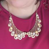Роскошное ожерелье колье под жемчуг и золото
