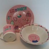 Детский набор посуды из керамики Свинка Пеппа ,3 предмета