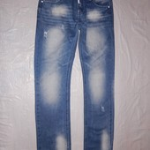 L-XL, поб 50-52, рваные  и потертые! зауженные джинсы River Soul