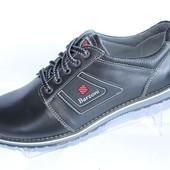 Мужские кожаные туфли М8 черного цвета