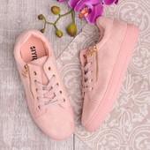 Стильные розовые женские кеды