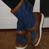 Стильные сапоги Marinepool 40 р-р стелька 25.5 см, деми, в отличном состоянии, вставки натуральная к