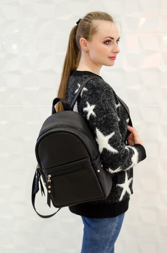 Новинка! эксклюзивный черный женский рюкзак вместительный и удобный фото №1