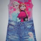 Фирменное платье с Анной и Эльзой на 7-9 лет идеал