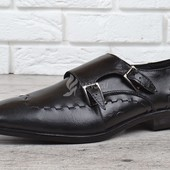 Мужские кожаные туфли Zapaterias VR Португалия классические черные прошитые