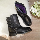 (38р./25см) bronx! португалия! кожа! крутые ботинки на низком ходу c ремнями и цепочками