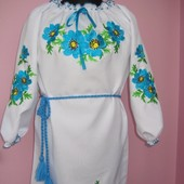 Вышиванка-платье на девочку от 6 до 16 лет